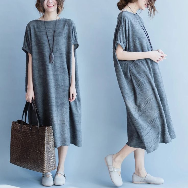Gray loose long dresses