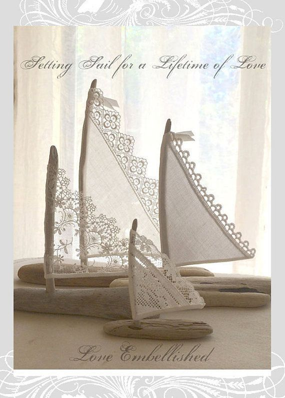 4 Beautiful Driftwood Beach Decor Sailboats Antique Lace Sails Bohemian  Inspired Romance Seaside Lakeside Cottage Wedding