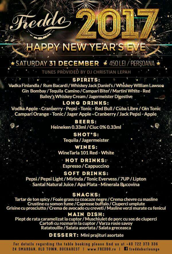 Celebrate New Year`s Eve Party 2017 at Freddo Bar & Lounge. Tickets: 450 Lei / pers. including: ENTRANCE, GOURMET BUFFET, OPEN BAR, ENTERTAINMENT.✔ For tickets and table reservations, please contact: +40 722 373 336!