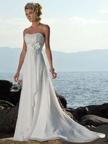 Wedding Formal Dresses,Wedding dresses on sale, Empire-Line Strapless Appliqué Beading Court Train Chiffon Bridal Gowns
