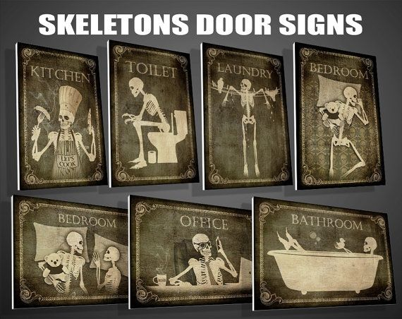 Toilet, Bathroom,Laundry,Bedroom,Kitchen,Office,signs,art,skull,skeleton,Halloween,gothic,goth,funny,door sign,PVC,christmas