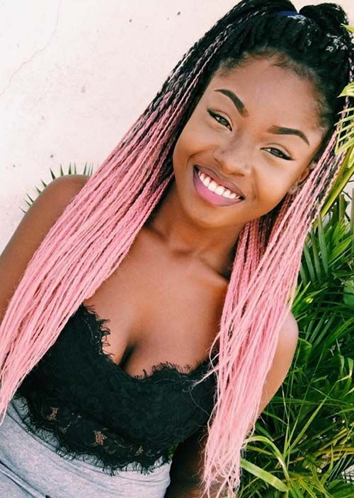 Awesome Box Braids Hairstyles: Pink Tree Box Braids