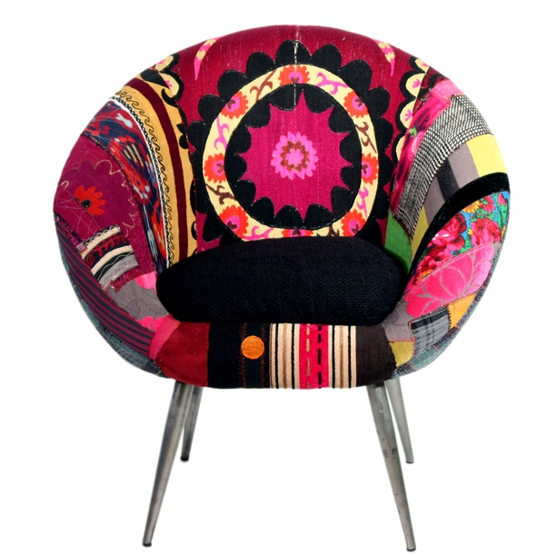 Like your modern furniture with a little more pop? The Orbit chair hits the mark with a Mid-Century form dressed in bright solids, geometric patterns and bursting floral prints hand-picked from areas throughout Central Asia. Made in Lebanon by the Beirut-based design company Bokja, this vibrant one-of-a-kind piece is filled with passion, history and culture, and will serve as a palette of inspiration for a room filled with beautiful, colorful things.