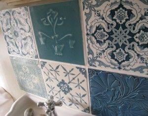vintage tile backsplash blue pinterest