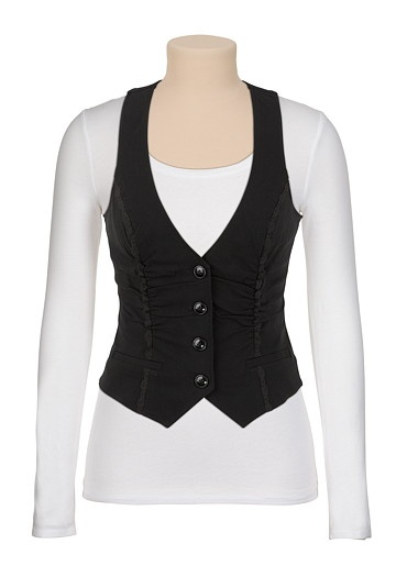Button Up Vest with Lace Piping $29.00