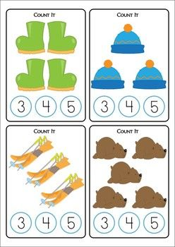 Math Centers - Winter (Beginning Skills) 127 pages. A page from the unit: Count It cards