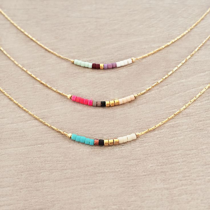 Colorful Short Minimalist Necklace by Kurafuchi Jewelry