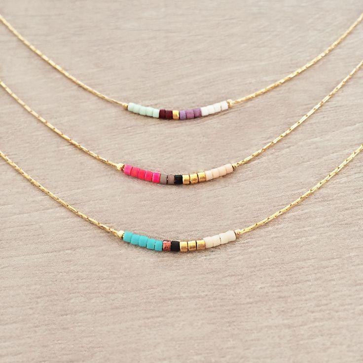 Colorful Short Minimalist Necklace by Kurafuchi Jewelry