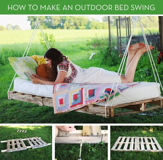 Great Summer Idea! Move Over Hammocks: How to Make an Outdoor Bed Swing (would need to weatherize. The salt air would kill this otherwise)