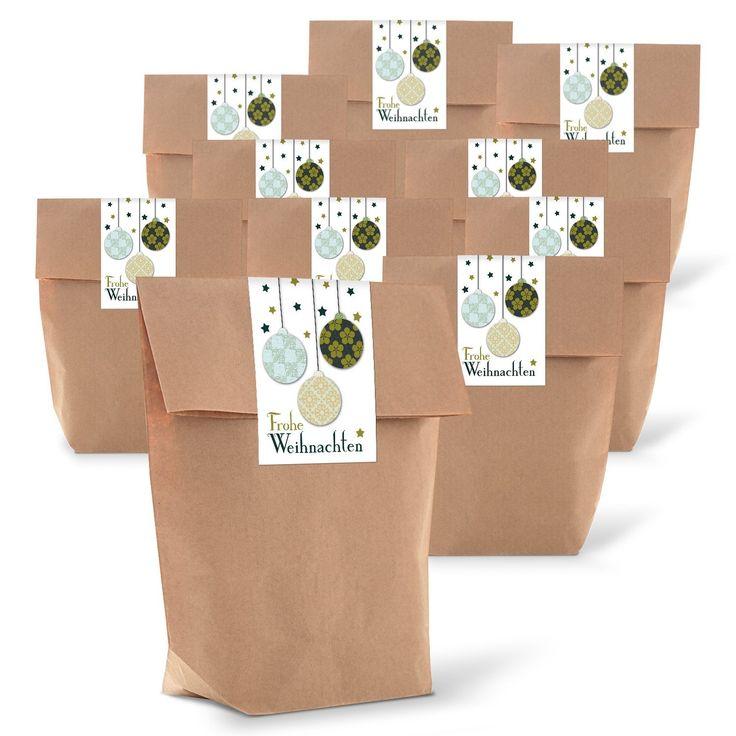 """25 braune weihnachtliche Geschenk-Tüten Kraftpapier (14 x 22 x 5,6 cm) + 25 Aufkleber Sticker """"Frohe Weihnachten"""" 3 Weihnachtskugeln vintage weiß grün zum liebevollen Verpacken von Weihnachtsgeschenken: AmazonSmile: Bürobedarf & Schreibwaren"""