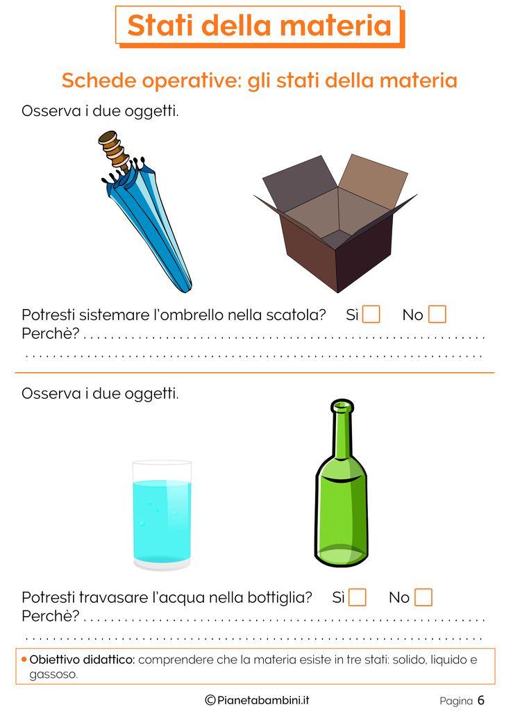 Schede didattiche per la scuola primaria sugli stati di aggregazione della materia (stato solido, stato liquido e stato gassoso) da stampare gratis
