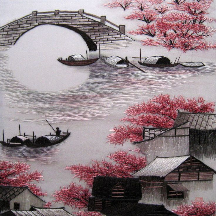 art japanese cherry blossoms landscape oil paintings framed wall oil ... Japanese Cherry Blossom Landscape Painting