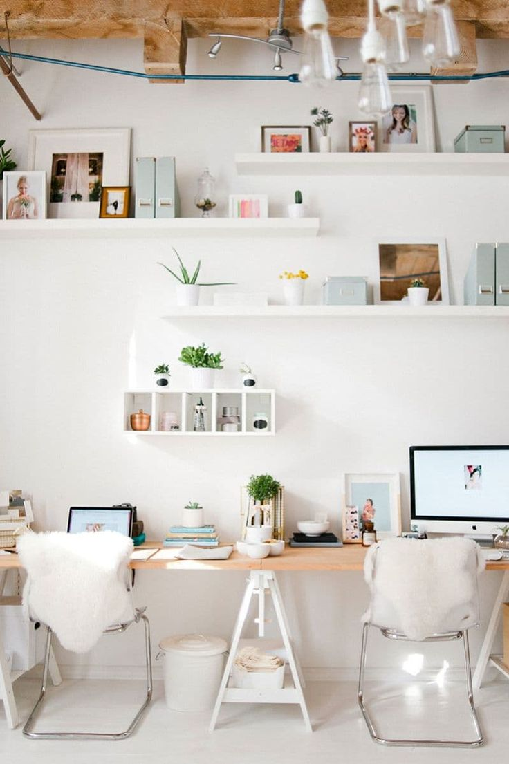 In a home or studio, sometimes more desk space is needed for only one or more than one person. Simply grab more wood or a longer piece and additional saw horses to create a longer, affordable, DIY work surface!