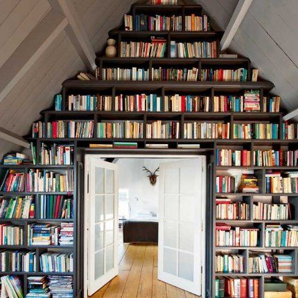 what a good use of a wall...even if having actual books is outdated.  i still like books!