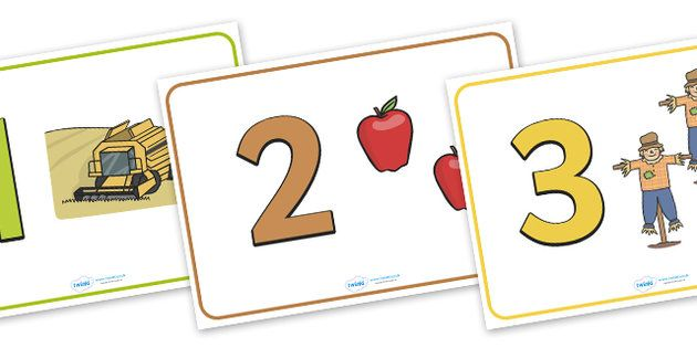 Herfst Aantal en Object Weergave Posters (1-20) - Herfst, Stichting Rekenen, nummer herkenning, Number flashcards, A4, vertoning, oogst, oogstfeest, fruit, appel, peer, sinaasappel, tarwe, brood, graan, bladeren, Conker