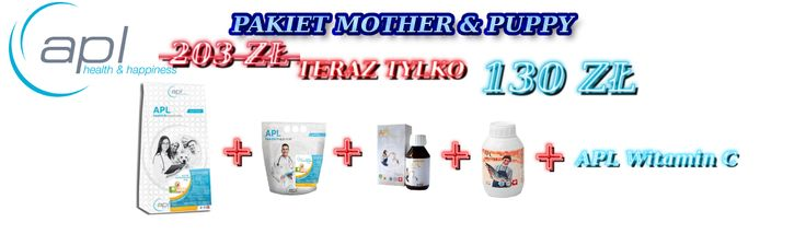 Pakiet APL Mother & Puppy - Sucha Karma APL Starter Mother & Puppy 10 kg + 2 kg + suplementy, teraz za jedyne 130 zł ! Zapraszamy na: http://apl-zoo.eu/pl/p/Pakiet-Mother-Puppy-/180