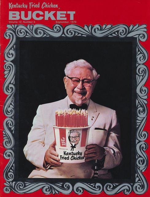 Kentucky Fried Chicken Bucket    *Newly cleaned up and rescanned*    September 1970 issue of the BUCKET. The issue is devoted entirely to the delightful, slightly senile chicken salesman on his 80th birthday.
