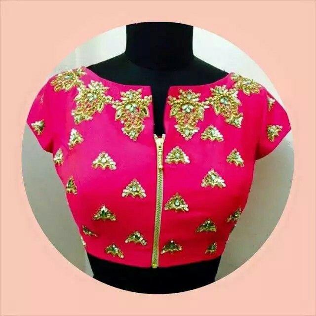 Front Zipper Style Saree Blouse