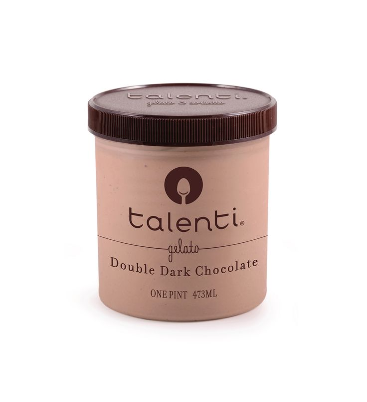 Talenti Double Dark Chocolate gelato. Dark chocolate gelato blended with semisweet Belgian Callebaut chocolatey morsels and just a tish of vermouth. Is it possible to have a crush on a frozen dessert?