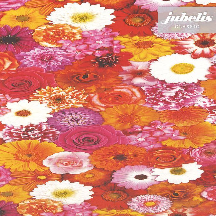 jubelis® PVC-Tischdecke Wachstuch Flora Fotoprint bunte Blumen
