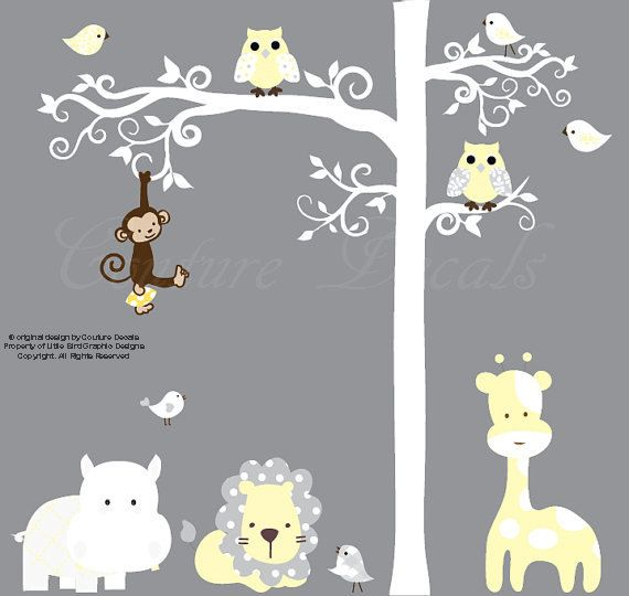 Childrens wall decal  white jungle tree wall by couturedecals