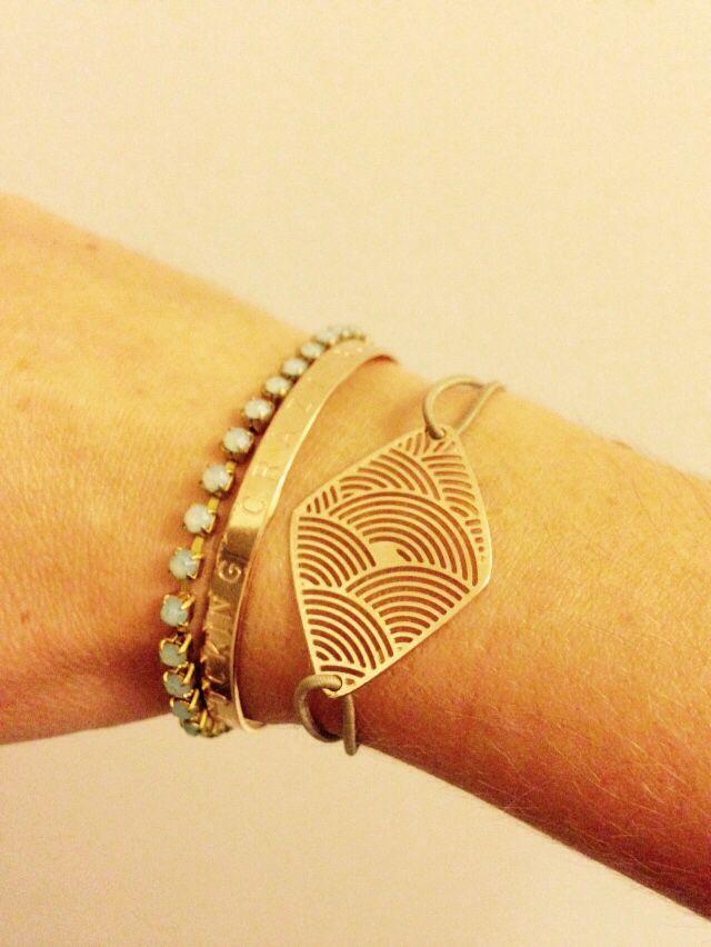 """Combo bracelet Golden """" i am fucking crazy but i am free"""" mya bay + bracelet marché de st Tropez + pierre de lune stone"""