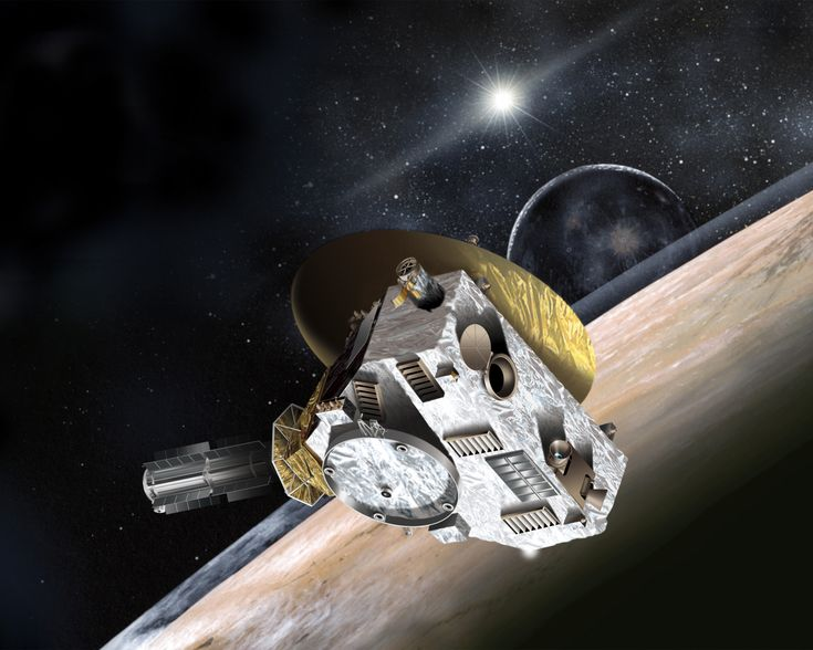 Artist's concept of NASA's New Horizons probe in the Pluto system.