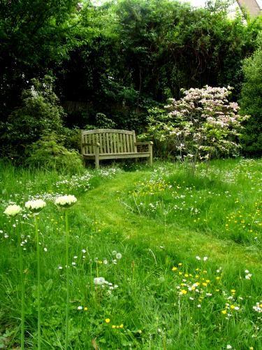 :: Chemins tondus dans la pelouse fleurie. Cornus florida rubra et allium blanc. Conception Canopées ::