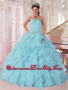 2014 Low Price puffy Light Blue Discount Quinceanera Dresses with Beading and Ruffles