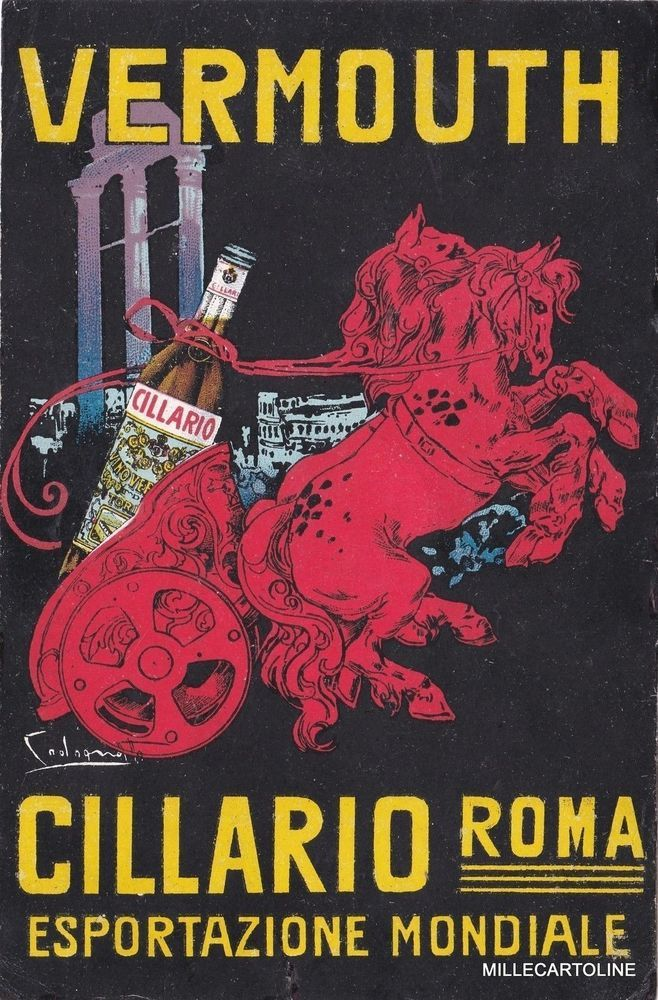 Old postcard,Codognato sign.1920 circa Liquor Advertising Vermouth Cillario Roma #millecartoline