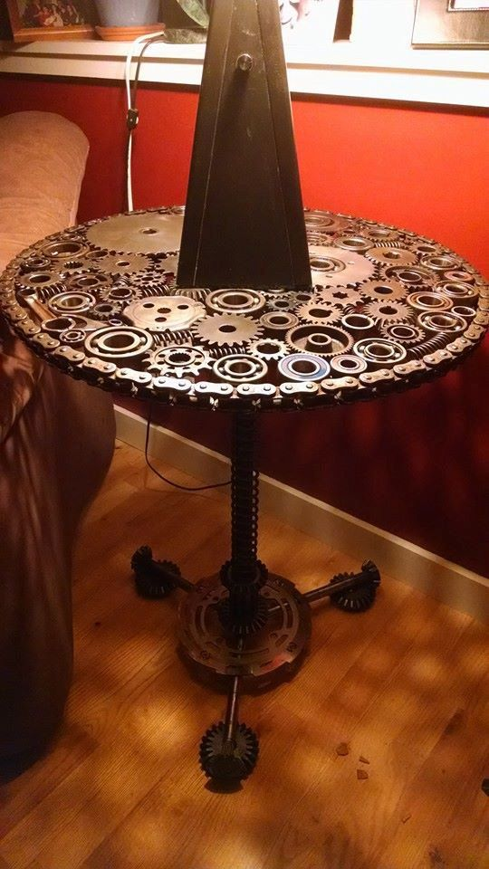 Gear and Sprocket End Table by MotoMetalFab on Etsy