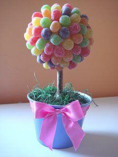 Modo de fazer: - escolha as cores - espete uma bola de isopor em um tronco - fixe o tronco na argila colocada dentro do vasinho - se for b...