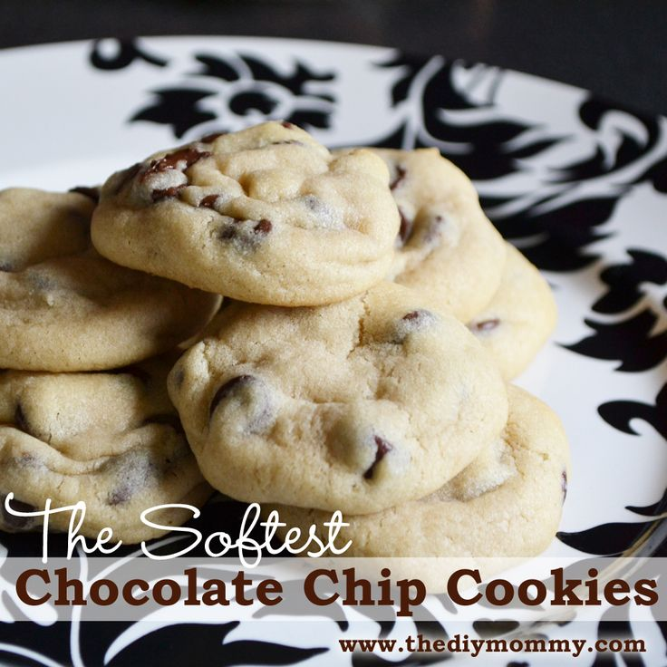 Make the Softest Chocolate Chip Cookies by The DIY Mommy. These have an interesting ingredient that keeps them so soft and fluffy!