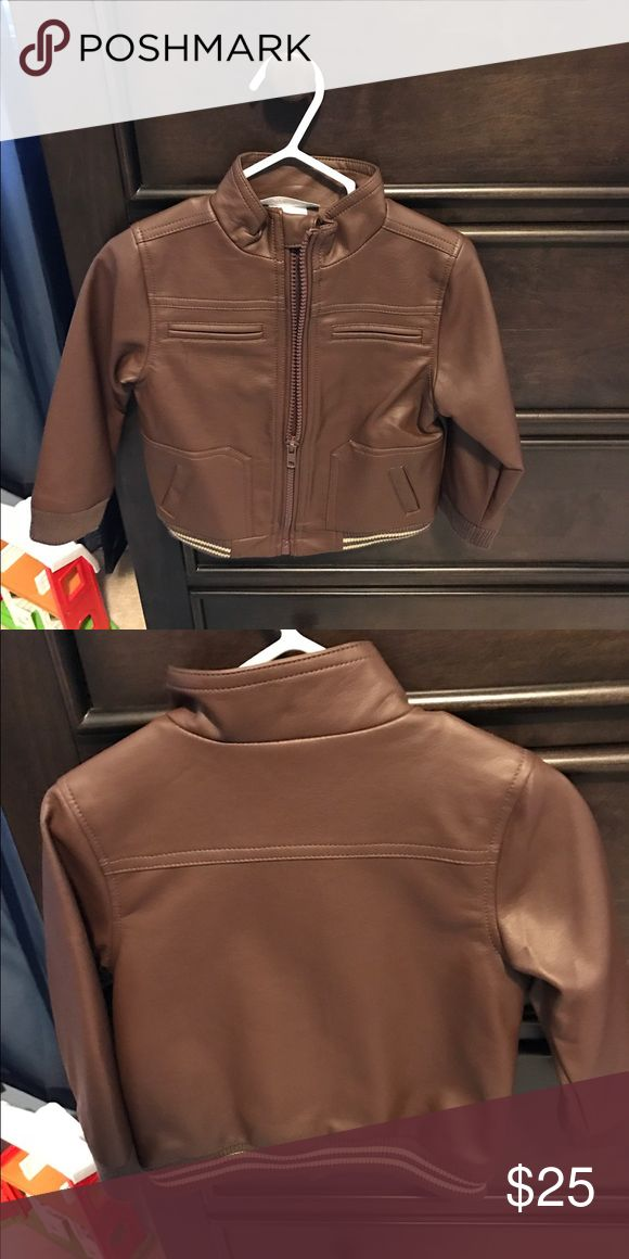 Toddler Boy Leather Jacket Brown faux Leather jacket Wendy Bellissimo Jackets & Coats Jean Jackets