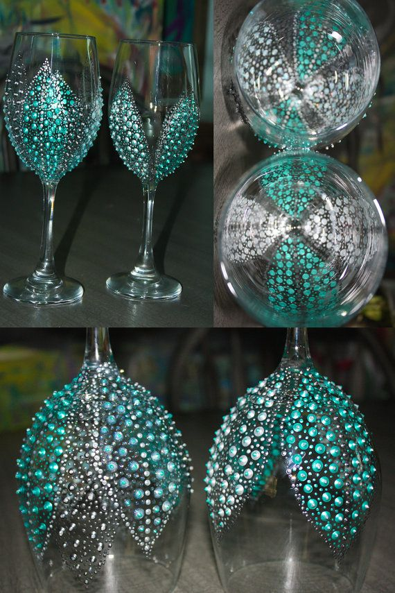 Bridal Shower party favors!! Hand Painted Wine Glasses Breakfast at Tiffanys by SteeleMagnoliaDesign, $20.00