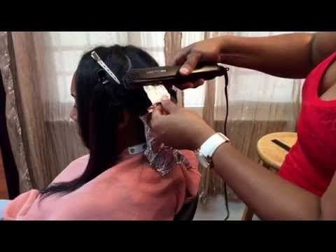 Curling hair with foil and a flat iron. Works wonders for long hair including extensions - YouTube