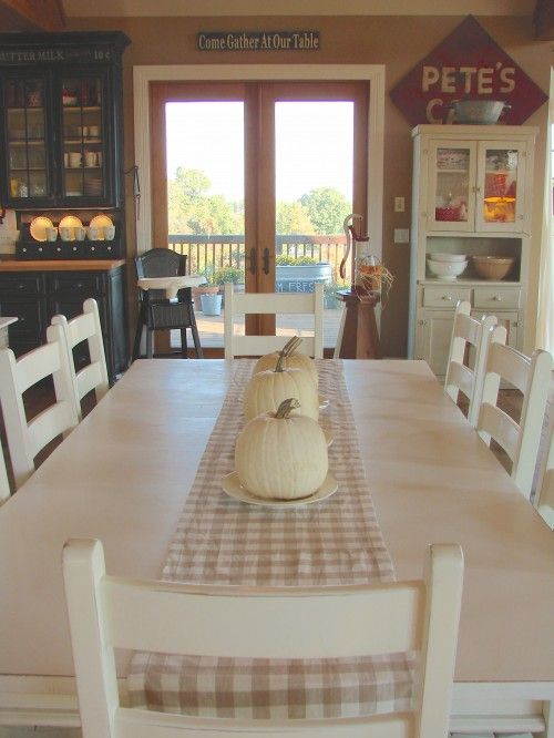 Love The Simplicity Of This Soft Checked Table Runner And White Pumpkins On  White Plates
