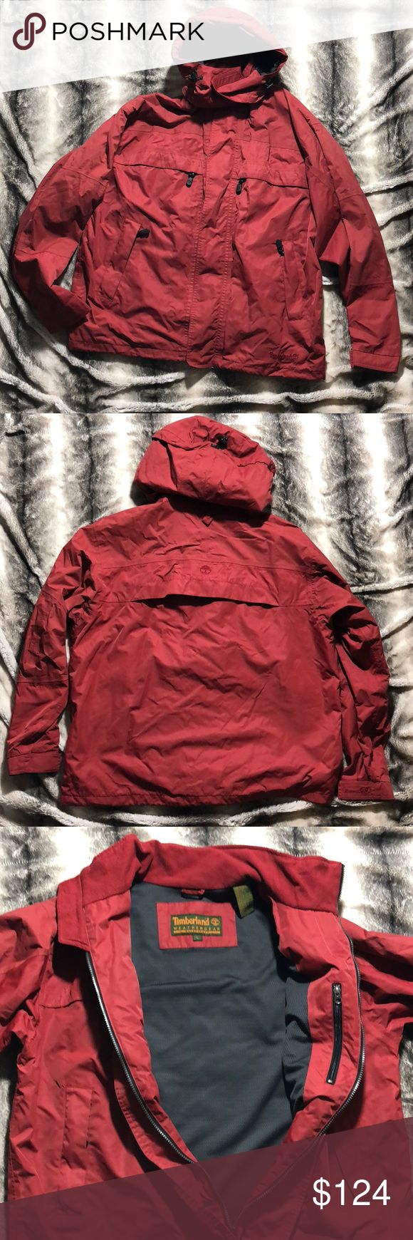 Timberland Waterproof Weathergear Coat This is a good condition Timberland Waterproof Weathergear Coat. The red is a great look. Inside is very clean. There are a few small non penetration scratches underneath and slightly behind the left arm. This jacket has been used and warm but still looks really great. You will turn heads sporting this jacket bc Timberland is a top shelf brand as you know :-) make me an offer and let's up your flashon game. Timberland Jackets & Coats