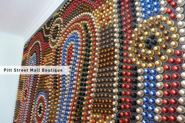 Nespresso pitt st mall sydney boutique capsule art this installation was cr - Porte capsule nespresso mural ...