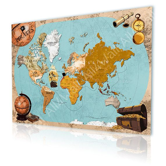 "World Map Rug Ebay: Canvas Repro ""Old Pirate Map"" Reproduction Photos Decor"