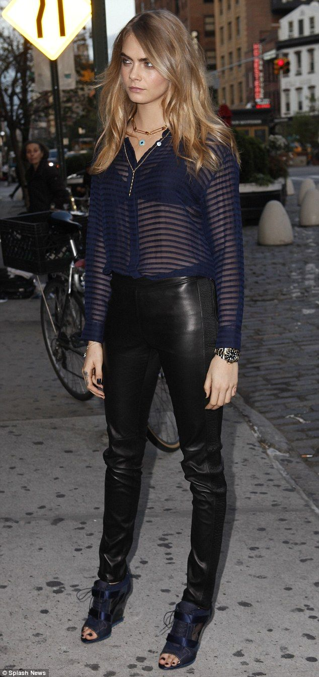Dressed to impress: Cara looked sensational as she took to the streets of New York in a sh...