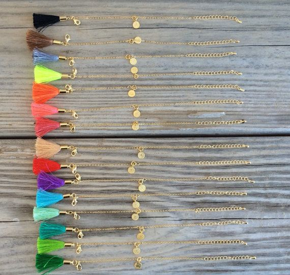 OOAK belle 22 carats plaqué bracelet chaine avec charme mini ottoman et gland