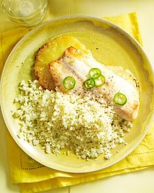 Fish on Pineapple Planks with Couscous