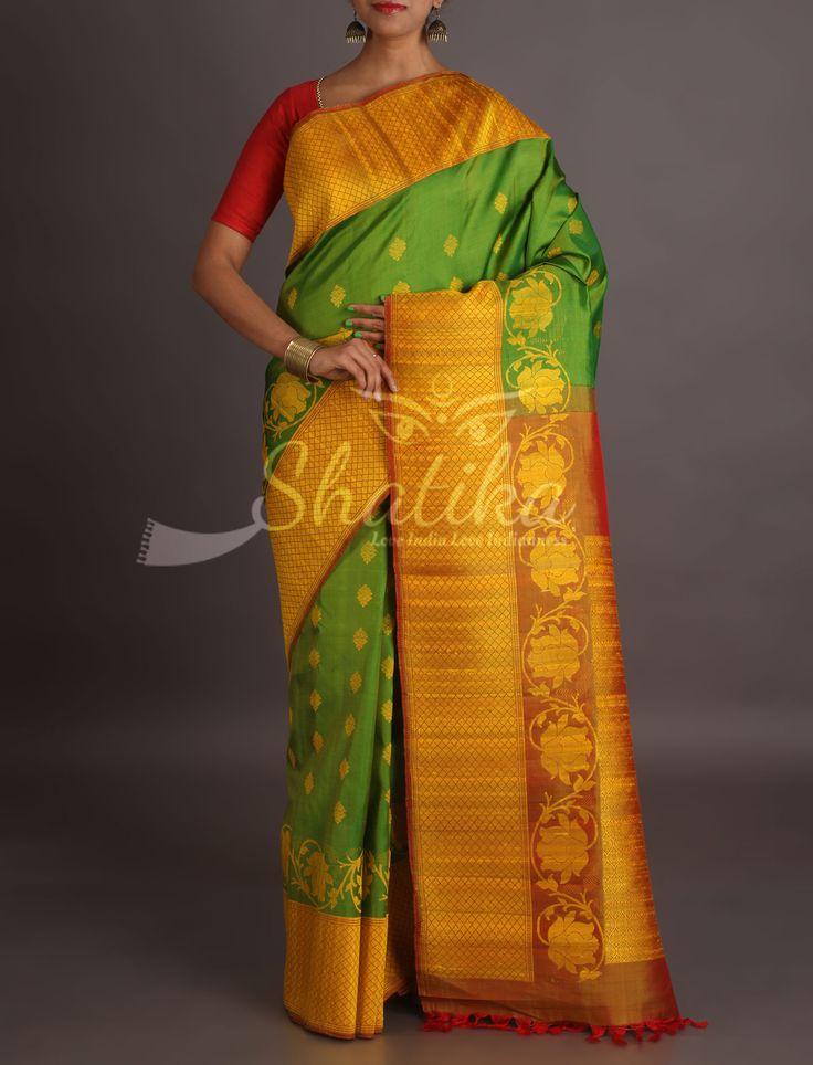 Siya Green With Yellow Bootis Bel Border Pure Jute Silk Saree
