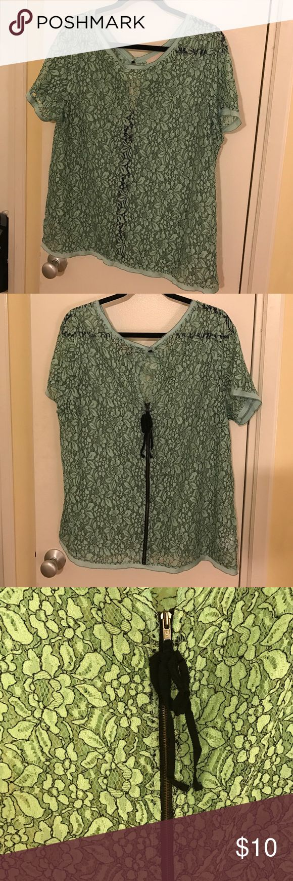 Lace Tee with back details Aqua lace tee with back zipper LOFT Tops Blouses