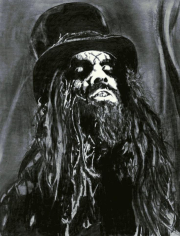 a drawing of rob zombie with an ebony graphite pencil on illustration board creative music halloween - Rob Zombie Halloween Music