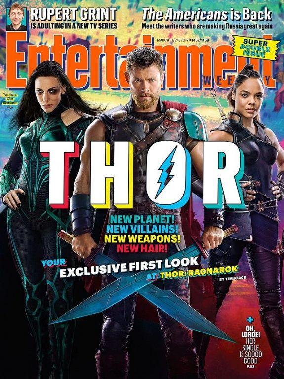 Кейт Бланшетт, Крис Хемсворт и Тесса Томпсон на обложке журнала Entertainment Weekly