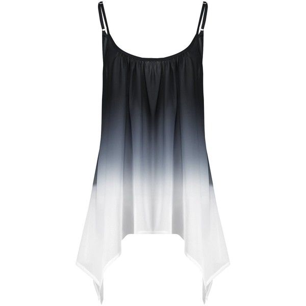 Plus Size Handkerchief Chiffon Ombre Cami Top ($9.12) ❤ liked on Polyvore featuring tops, cami tank, camisole tank top, chiffon tops, womens plus tops and plus size tops
