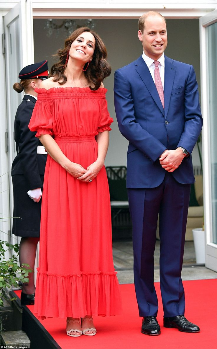Kate and William are attending a party at the British Ambassador's residence in Berlin to celebrate of the British monarch's birthday at the end of their action-packed first day in Germany.