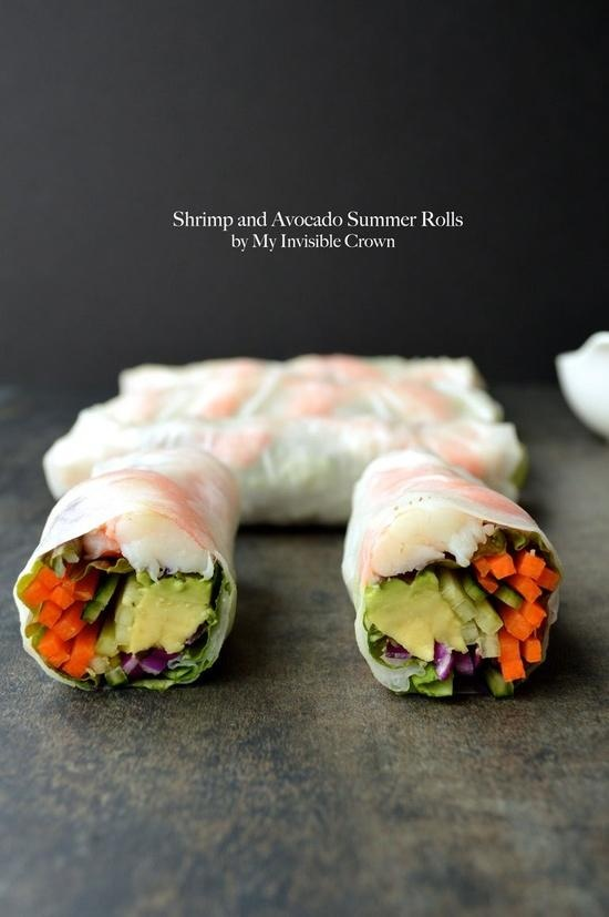 Shrimp and Avocado Summer Rolls.  Absolutely delicious and perfect.  Mine weren't nearly as beautiful to look at but they were very tasty!